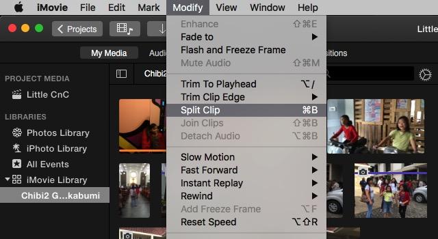 iMovie - split clip menu