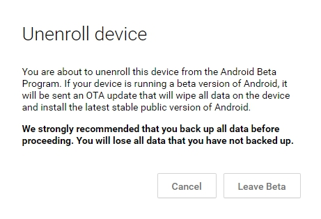 Android N Developer Preview Confirm Unenroll