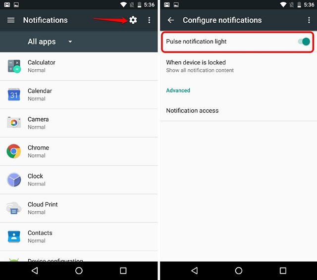 Android N Tricks enable LED notification