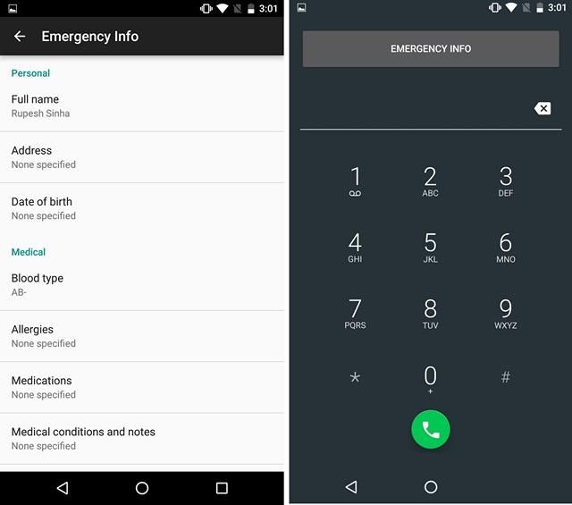 Android N tricks Emergency info