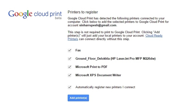 Chrome Cloud Print Printers Available