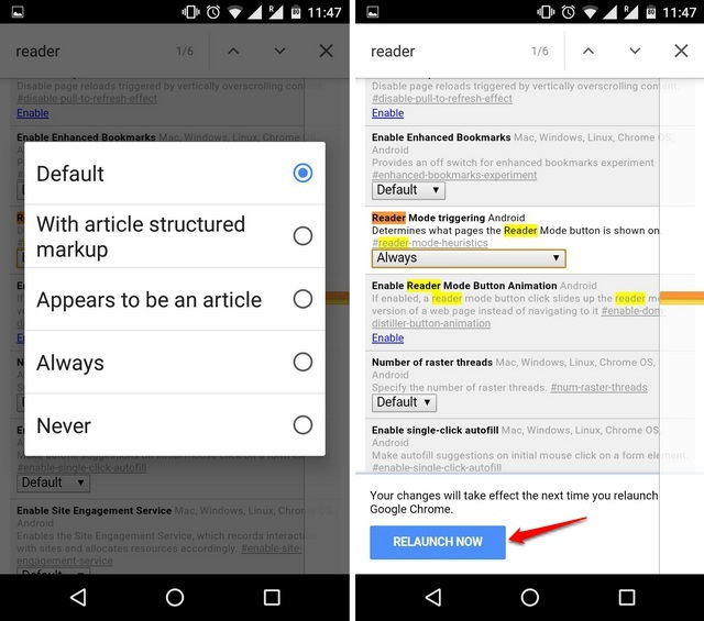 Chrome Flags Android habilita el modo de lectura