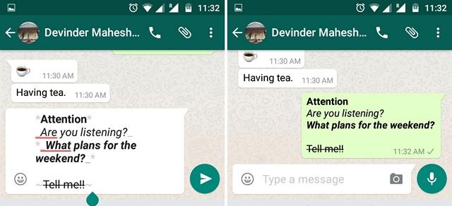 WhatsApp Format Text