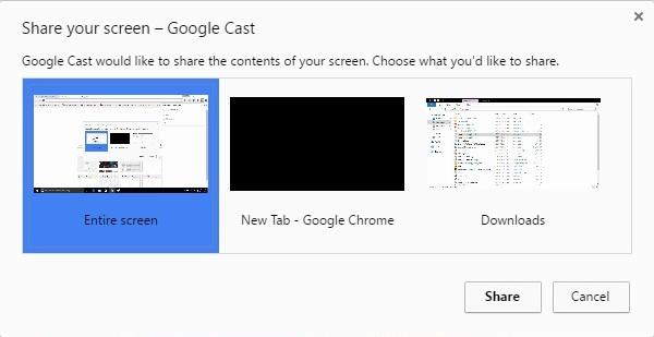 Opciones de pantalla para compartir de Google Cast