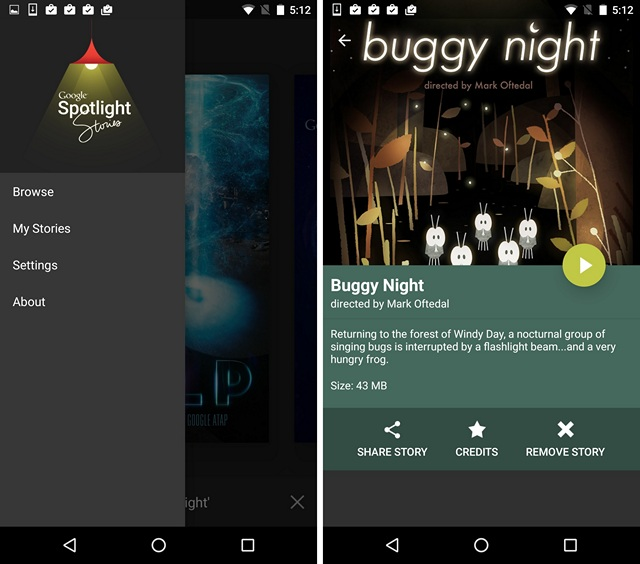 Google Spotlight Stories App