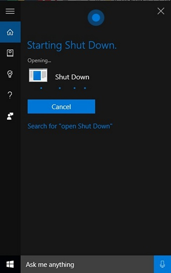 Shutdown Windows 10 Voice Cortana