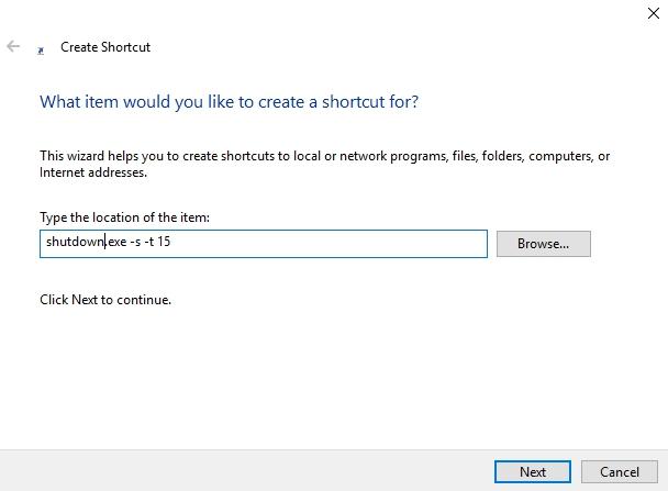 Windows 10 shutdown shortcut