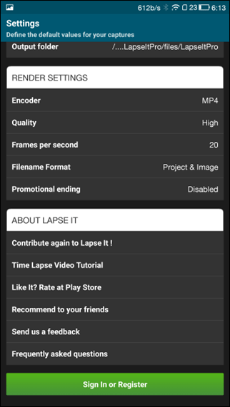 lapse it settings