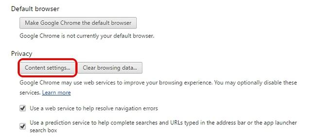 Configuración de contenido de Chrome