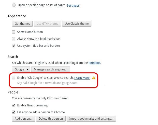 Desactivar Ok Google en Chrome