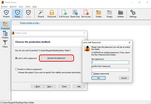 password protect a folder windows 10