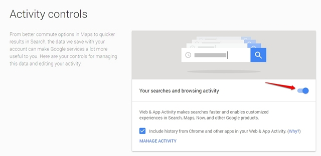 Google Privacy turn off activity