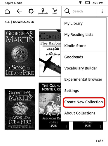 Kindle homepage menu button