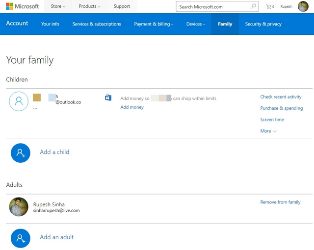Página de la familia de Microsoft