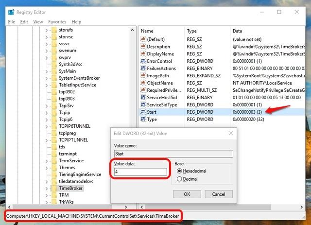 Registry Editor to stop RuntimeBroker