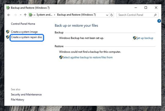 Windows 10 Crear disco de reparación del sistema