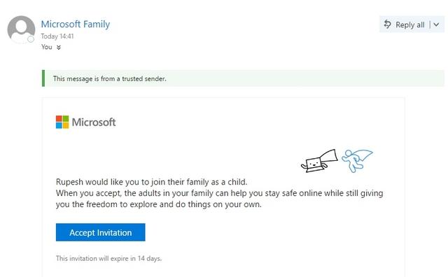 Correo de invitación infantil de Windows 10