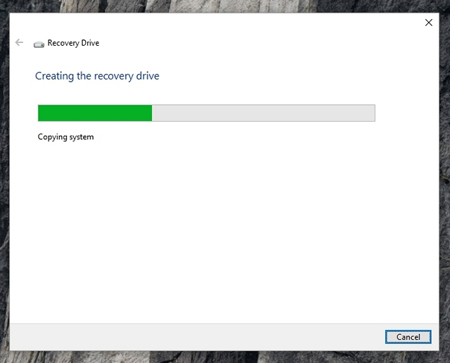 Windows 10 creating recovery drive