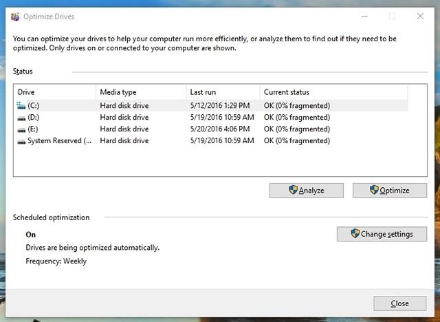 Unidad de desfragmentación de Windows 10