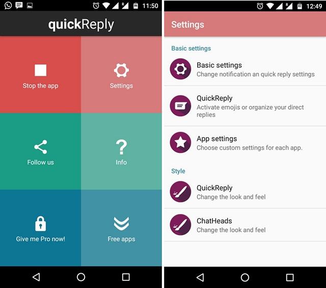 Aplicación quickReply para Android
