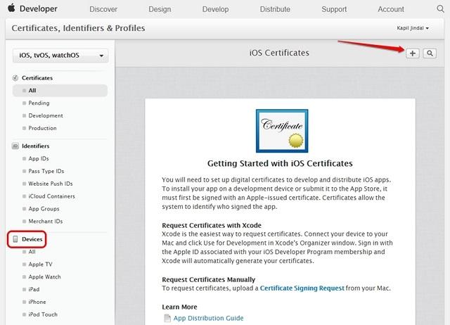 Certificados de dispositivo de desarrollador de Apple