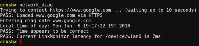 Chrome OS Crosh network diag command