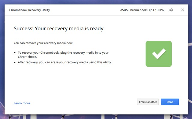 Chromebook Recovery Image Ready