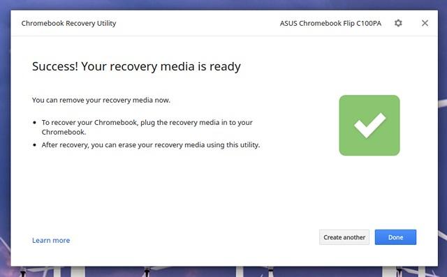 Imagen de recuperación de Chromebook lista