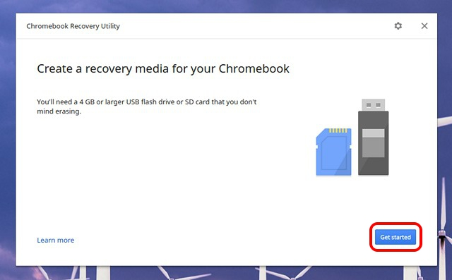 Chromebook Recovery Utility start