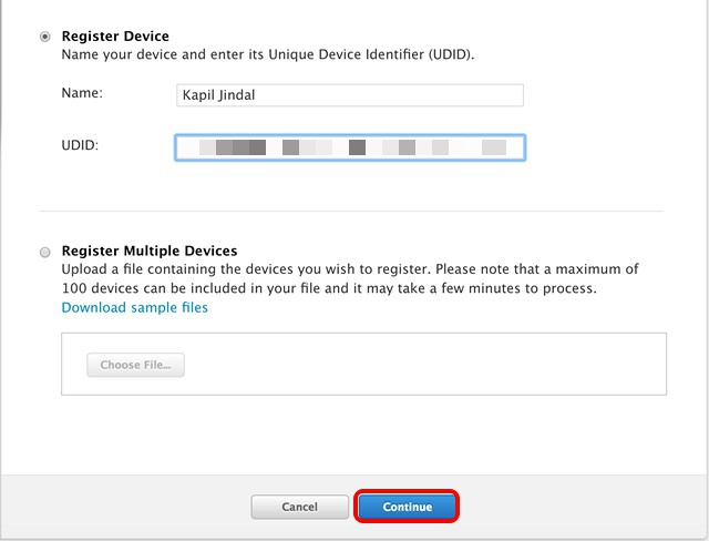Registrar dispositivo Apple Developer