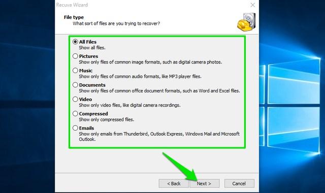 Seleccionar tipo de archivo