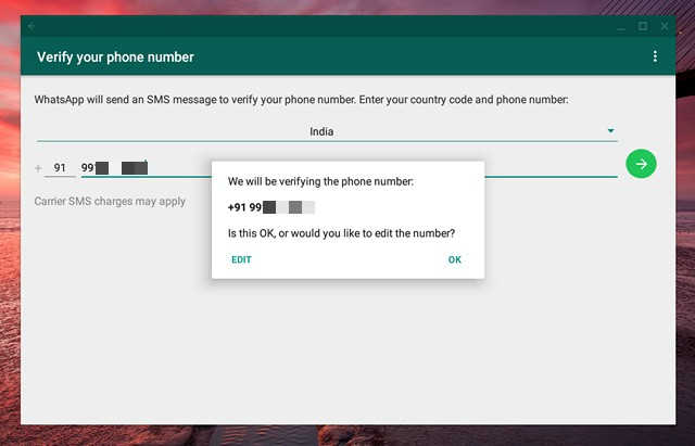 WhatsApp number verification
