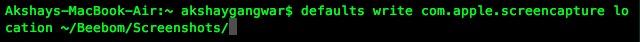 change default screenshot location on mac defaults command