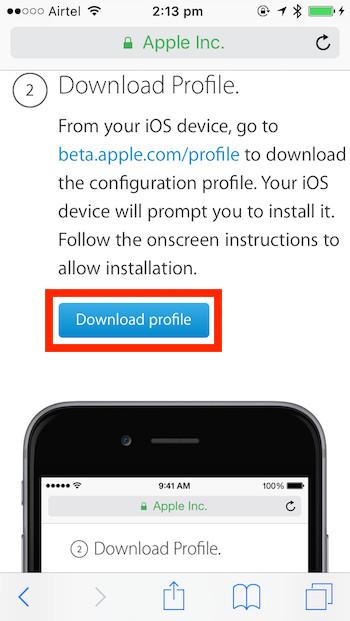 Botón de perfil de descarga beta pública de iOS 10