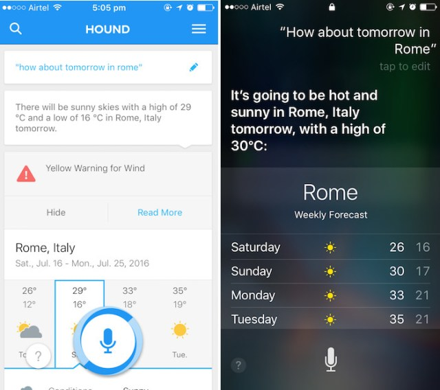 hound ai assistant how about tomorrow in rome