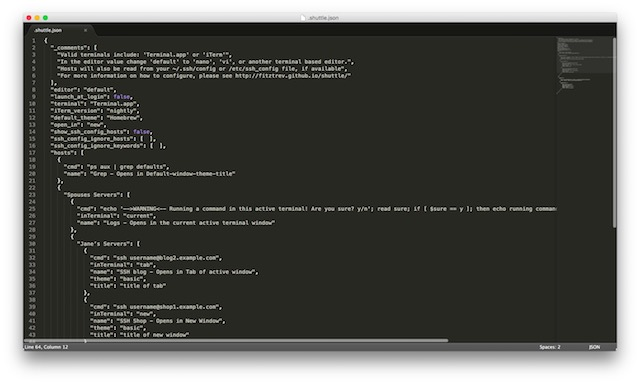 PuTTY alternatives for Mac Shuttle config file