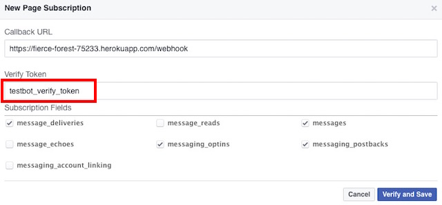 facebook messenger bot webhook fields