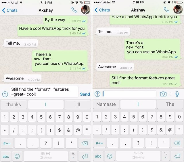 WhatsApp tricks format text-compressed