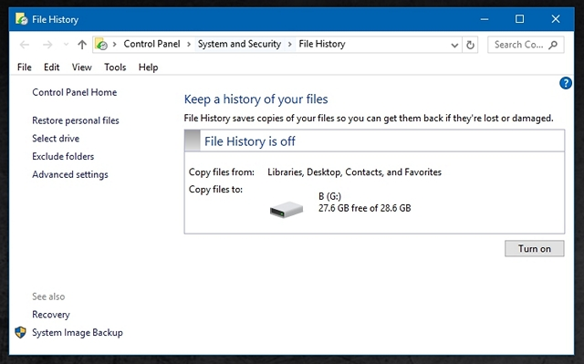Windows 10 File History