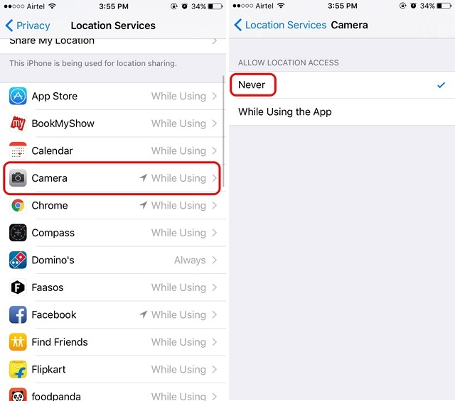 iOS disable geotagging