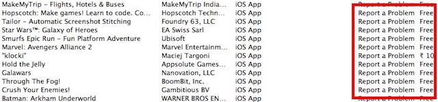 informar una lista de aplicaciones con problemas