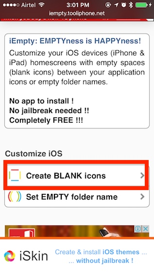 how to get a blank iphone home screen