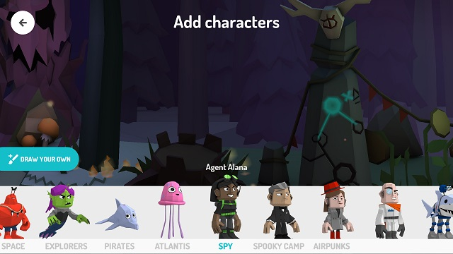 Toontastic character selection