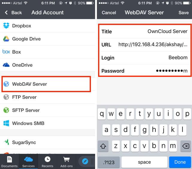 connect webdav step 2