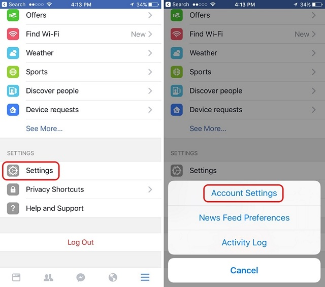 Facebook Account Settings iOS