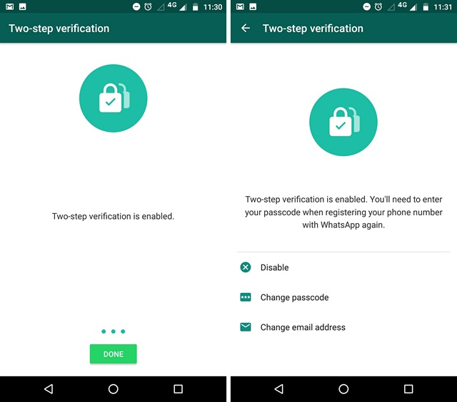 WhatsApp Two-Step Verification Enabled