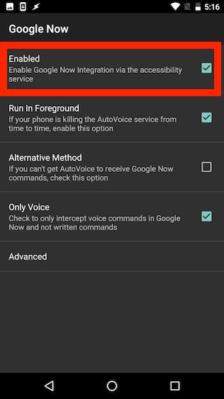 habilitar google ahora accesibilidad