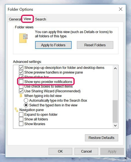 File Explorer View Options