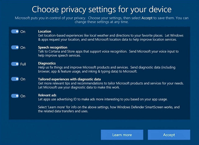 Data Collection Settings in Windows
