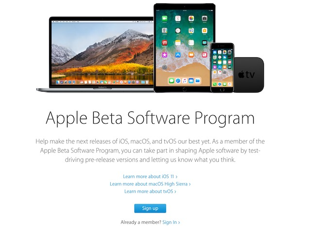 Apple Beta Software Page